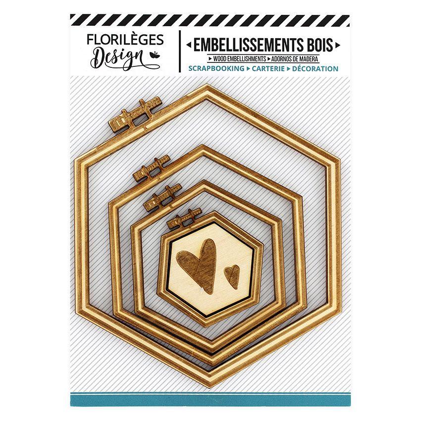 Parfait pour créer : Embellissements bois SUPPORTS À BRODER HEXAGONES par Florilèges Design. Livraison rapide et cadeau dans ...