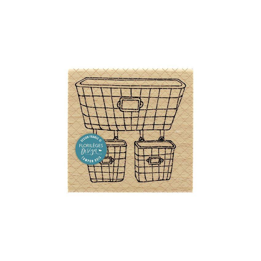 Tampon bois PANIERS GRILLAGÉS par Florilèges Design. Scrapbooking et loisirs créatifs. Livraison rapide et cadeau dans chaque...