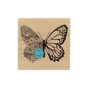 Tampon bois PAPILLON FLORAL par Florilèges Design. Scrapbooking et loisirs créatifs. Livraison rapide et cadeau dans chaque c...