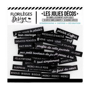 Parfait pour créer : Décos MOTS DOUX CARBONE par Florilèges Design. Livraison rapide et cadeau dans chaque commande.