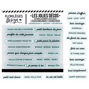 Décos MOTS DOUX CÉLADON par Florilèges Design. Scrapbooking et loisirs créatifs. Livraison rapide et cadeau dans chaque comma...