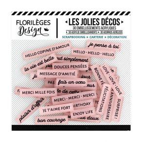 Parfait pour créer : Décos MOTS DOUX ROSE THÉ par Florilèges Design. Livraison rapide et cadeau dans chaque commande.