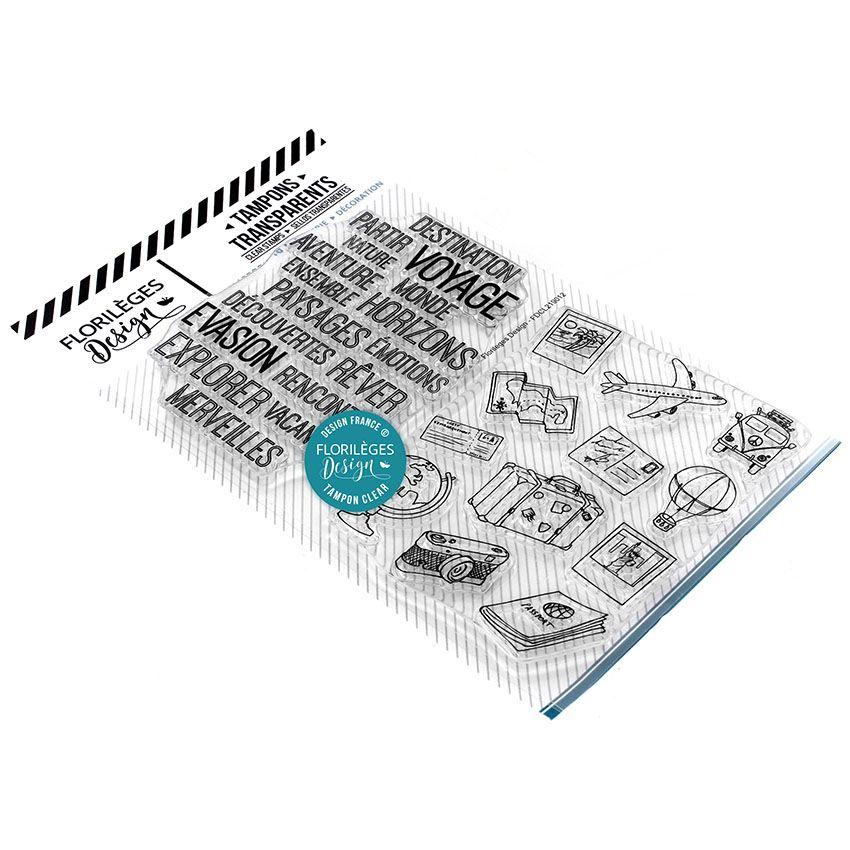 Tampons clear DESTINATION ÉVASION par Florilèges Design. Scrapbooking et loisirs créatifs. Livraison rapide et cadeau dans ch...