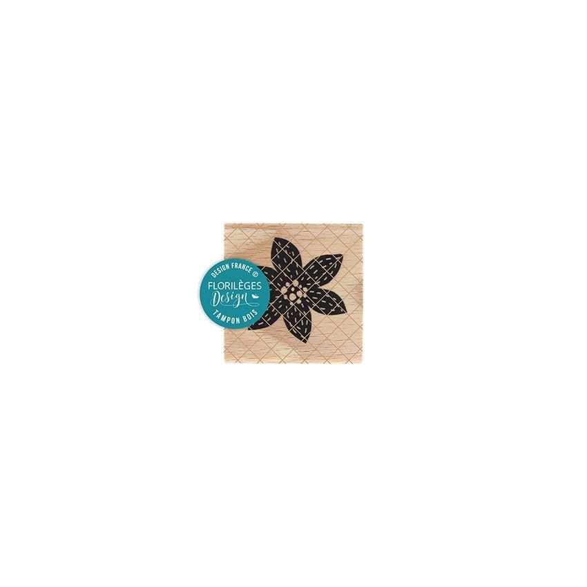 Tampon bois FLEUR BRODÉE NOIRE par Florilèges Design. Scrapbooking et loisirs créatifs. Livraison rapide et cadeau dans chaqu...