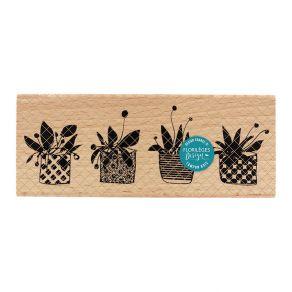 Parfait pour créer : Tampon bois QUATRE POTS par Florilèges Design. Livraison rapide et cadeau dans chaque commande.