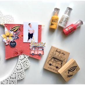Tampon bois DEUX BOUTONS par Florilèges Design. Scrapbooking et loisirs créatifs. Livraison rapide et cadeau dans chaque comm...