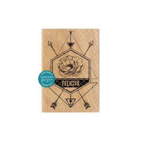 Tampon bois italien DIREZIONE DELLA FELICITÀ par Florilèges Design. Scrapbooking et loisirs créatifs. Livraison rapide et cad...