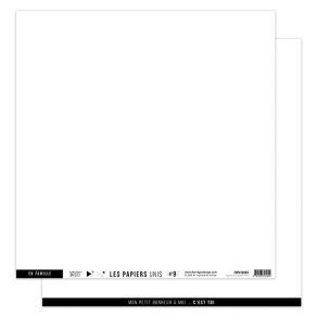 Papier uni 30,5 x 30,5 cm N°9 BLANC PUR par Florilèges Design. Scrapbooking et loisirs créatifs. Livraison rapide et cadeau d...