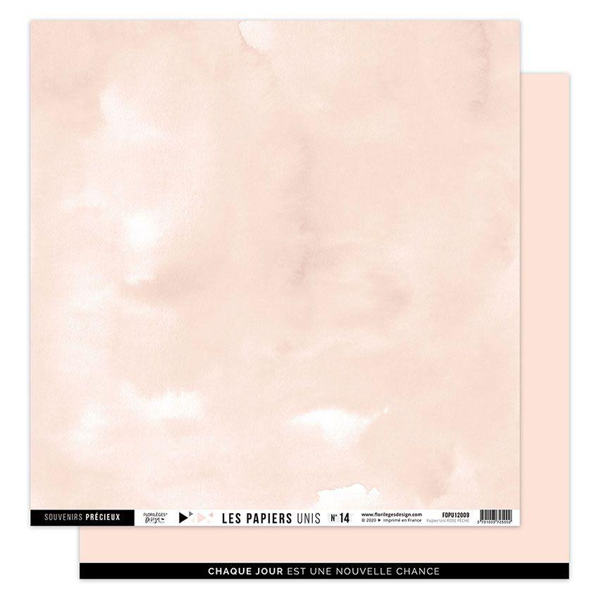 Papier uni 30,5 x 30,5 cm N°14 ROSE PÊCHE par Florilèges Design. Scrapbooking et loisirs créatifs. Livraison rapide et cadeau...