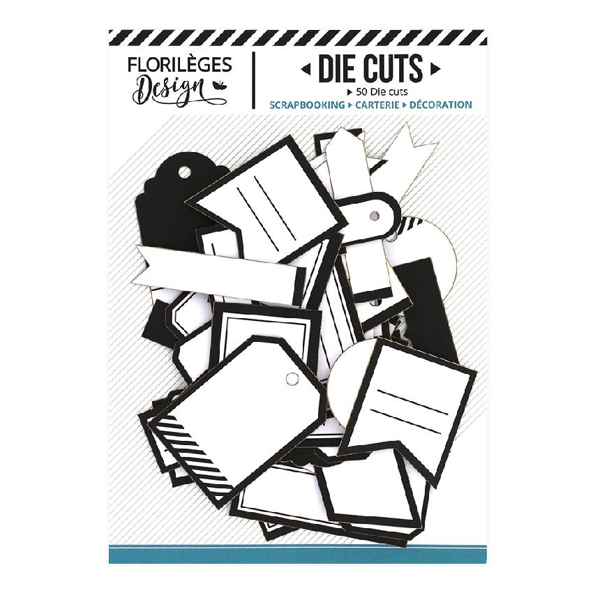 Etiquettes BLANC PUR et NOIR PROFOND par Florilèges Design. Scrapbooking et loisirs créatifs. Livraison rapide et cadeau dans...