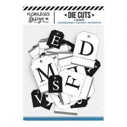 Étiquettes ALPHABET BLANC NOIR par Florilèges Design. Scrapbooking et loisirs créatifs. Livraison rapide et cadeau dans chaqu...