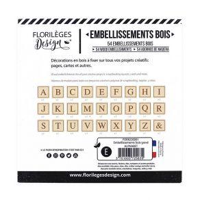 Embellissements bois gravé ALPHABET par Florilèges Design. Scrapbooking et loisirs créatifs. Livraison rapide et cadeau dans ...