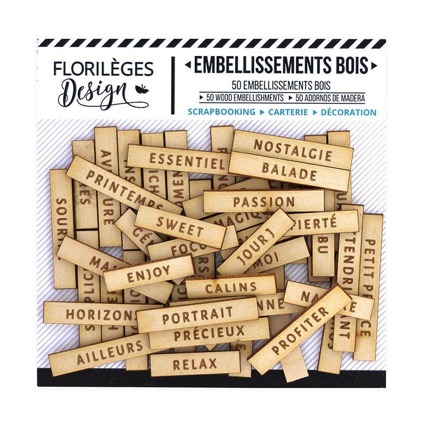 Embellissements bois gravé JOLIS MOTS 1 par Florilèges Design. Scrapbooking et loisirs créatifs. Livraison rapide et cadeau d...