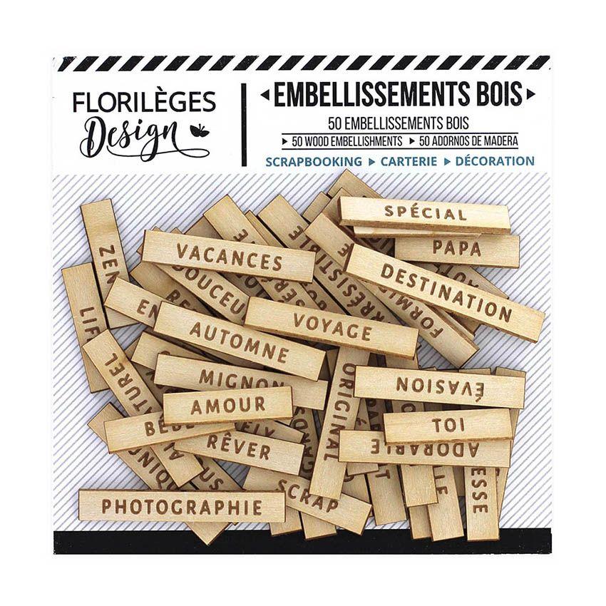 Embellissements bois gravé JOLIS MOTS 2 par Florilèges Design. Scrapbooking et loisirs créatifs. Livraison rapide et cadeau d...