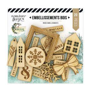 Embellissements bois OH WINTER par Florilèges Design. Scrapbooking et loisirs créatifs. Livraison rapide et cadeau dans chaqu...