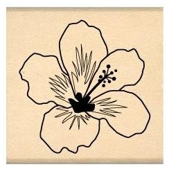 PROMO de -30% sur Tampon bois HIBISCUS BLANC Florilèges Design