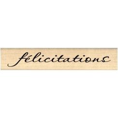 Tampon bois FÉLICITATIONS par Florilèges Design. Scrapbooking et loisirs créatifs. Livraison rapide et cadeau dans chaque com...