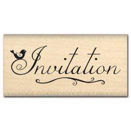 Tampon bois INVITATION  par Florilèges Design. Scrapbooking et loisirs créatifs. Livraison rapide et cadeau dans chaque comma...