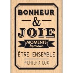Tampon bois BONHEUR ET JOIE par Florilèges Design. Scrapbooking et loisirs créatifs. Livraison rapide et cadeau dans chaque c...