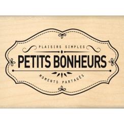 Tampon bois PLAISIRS BONHEURS MOMENTS par Florilèges Design. Scrapbooking et loisirs créatifs. Livraison rapide et cadeau dan...