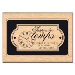 Tampon bois OUBLIER LES HEURES par Florilèges Design. Scrapbooking et loisirs créatifs. Livraison rapide et cadeau dans chaqu...