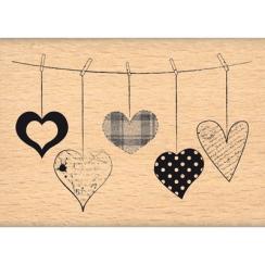 Tampon bois CŒURS SUSPENDUS  par Florilèges Design. Scrapbooking et loisirs créatifs. Livraison rapide et cadeau dans chaque ...