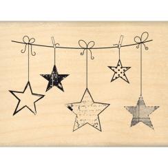 Tampon bois ETOILES SUSPENDUES par Florilèges Design. Scrapbooking et loisirs créatifs. Livraison rapide et cadeau dans chaqu...