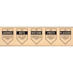Tampon bois CINQ FANIONS par Florilèges Design. Scrapbooking et loisirs créatifs. Livraison rapide et cadeau dans chaque comm...