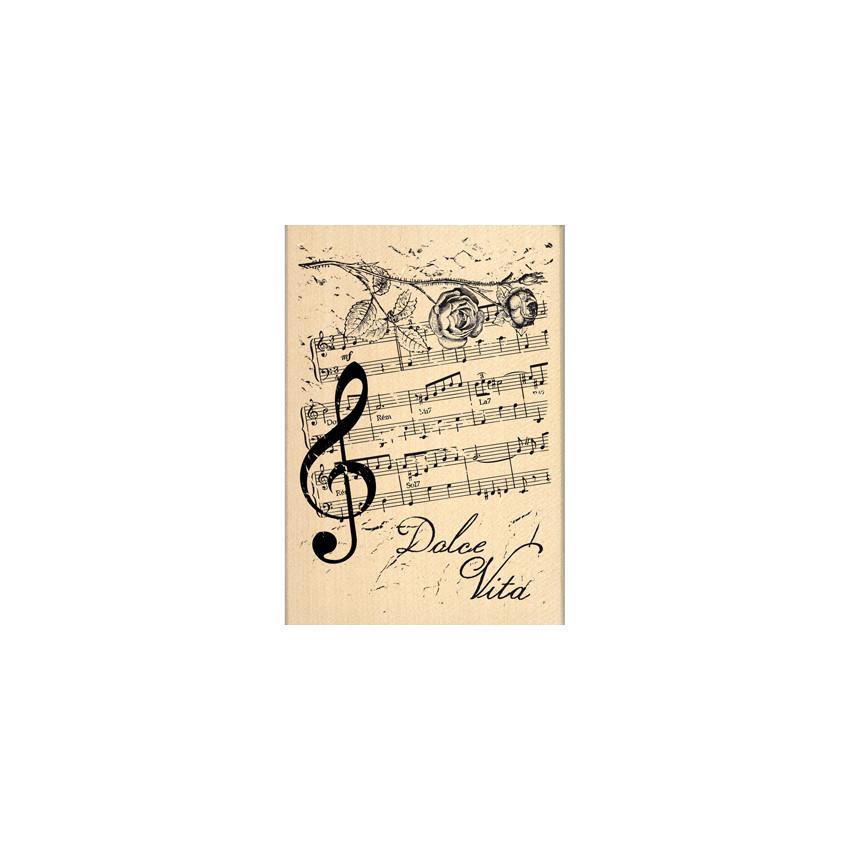Tampon bois NOTES DE MUSIQUE par Florilèges Design. Scrapbooking et loisirs créatifs. Livraison rapide et cadeau dans chaque ...