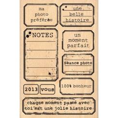 Tampon bois ÉTIQUETTES VINTAGE par Florilèges Design. Scrapbooking et loisirs créatifs. Livraison rapide et cadeau dans chaqu...