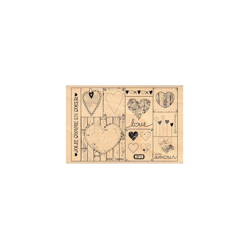 Commandez Tampon bois PATCHWORK DE COEURS Florilèges Design. Livraison rapide et cadeau dans chaque commande.