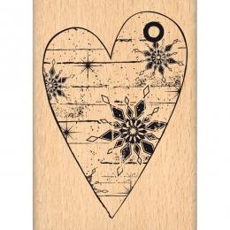 Tampon bois COEUR D'HIVER par Florilèges Design. Scrapbooking et loisirs créatifs. Livraison rapide et cadeau dans chaque com...