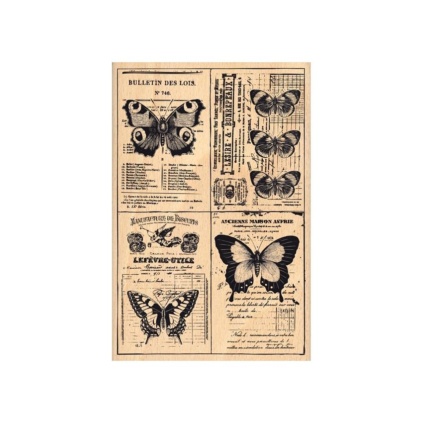 Tampon bois PAPILLONS DE PAGE EN PAGE
