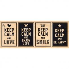 Tampon bois KEEP CALM par Florilèges Design. Scrapbooking et loisirs créatifs. Livraison rapide et cadeau dans chaque commande.