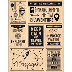 Tampon bois VOYAGE MAGIQUE par Florilèges Design. Scrapbooking et loisirs créatifs. Livraison rapide et cadeau dans chaque co...
