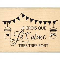 Tampon bois JE CROIS QUE JE T'AIME par Florilèges Design. Scrapbooking et loisirs créatifs. Livraison rapide et cadeau dans c...