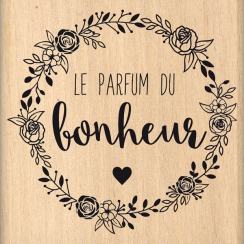 Tampon bois LE PARFUM DU BONHEUR par Florilèges Design. Scrapbooking et loisirs créatifs. Livraison rapide et cadeau dans cha...