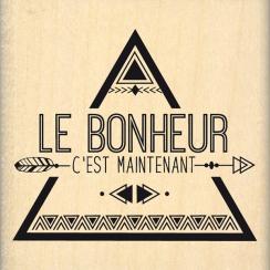 PROMO de -40% sur Tampon bois BONHEUR MAINTENANT Florilèges Design