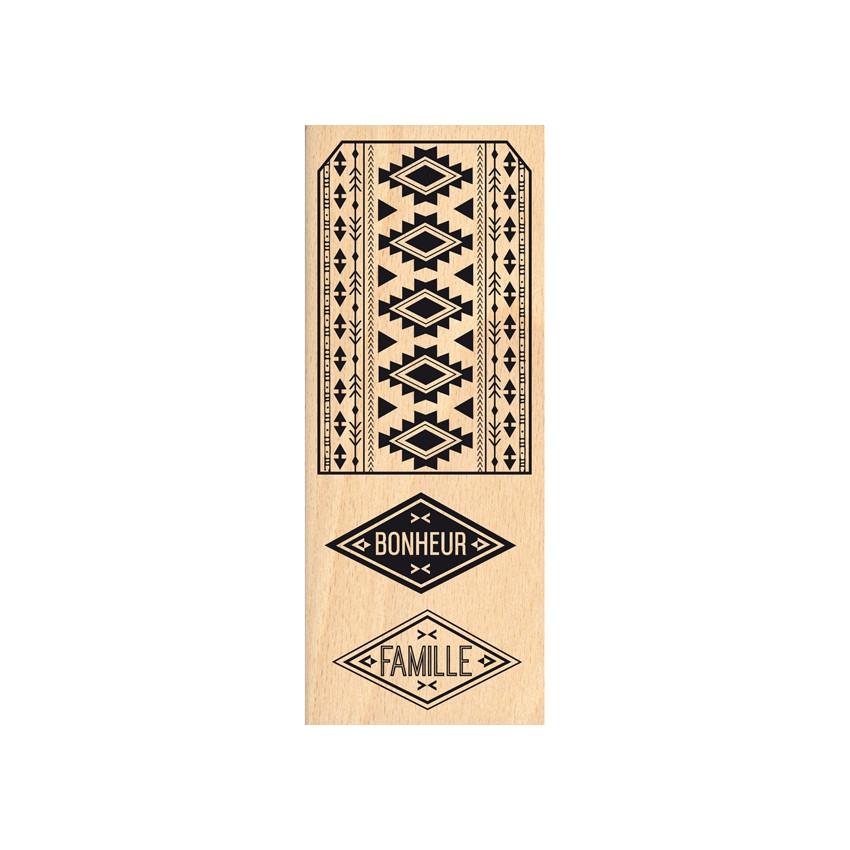 PROMO de -99.99% sur Tampon bois ÉTIQUETTE AZTÈQUE Florilèges Design