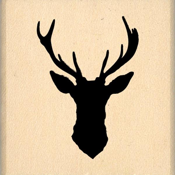 Tampon bois cerf silhouette for Tete de cerf decoration