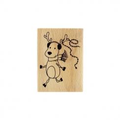 Tampon bois RENNE DE NOËL par Florilèges Design. Scrapbooking et loisirs créatifs. Livraison rapide et cadeau dans chaque com...