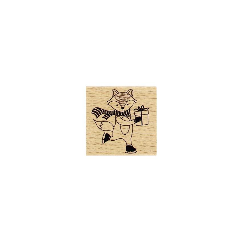 Tampon bois RENARD DE NOËL par Florilèges Design. Scrapbooking et loisirs créatifs. Livraison rapide et cadeau dans chaque co...