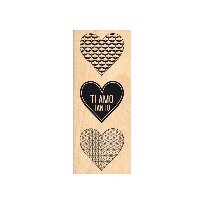 Tampon bois italien TI AMO TANTO par Florilèges Design. Scrapbooking et loisirs créatifs. Livraison rapide et cadeau dans cha...