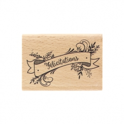 Commandez Tampon bois BANNIERE FÉLICITATIONS Florilèges Design. Livraison rapide et cadeau dans chaque commande.
