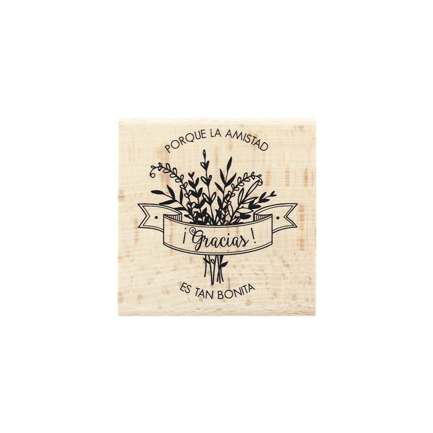 Tampon bois espagnol AMISTAD TAN BONITA par Florilèges Design. Scrapbooking et loisirs créatifs. Livraison rapide et cadeau d...