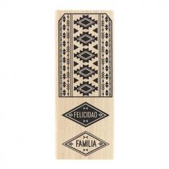 Tampon bois espagnol ETIQUETA AZTECA par Florilèges Design. Scrapbooking et loisirs créatifs. Livraison rapide et cadeau dans...