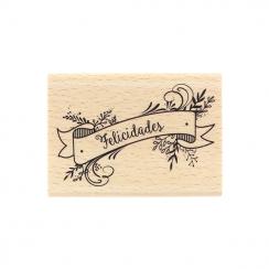 Tampon bois espagnol FELICIDADES par Florilèges Design. Scrapbooking et loisirs créatifs. Livraison rapide et cadeau dans cha...