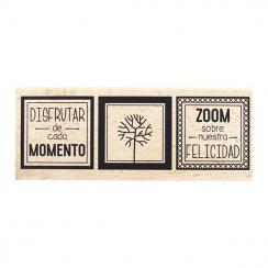 Tampon bois espagnol NUESTRA FELICIDAD par Florilèges Design. Scrapbooking et loisirs créatifs. Livraison rapide et cadeau da...