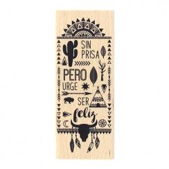 Tampon bois espagnol SER FELIZ par Florilèges Design. Scrapbooking et loisirs créatifs. Livraison rapide et cadeau dans chaqu...