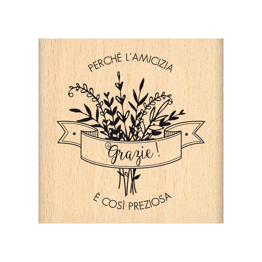 Tampon bois italien Amicizia preziosa par Florilèges Design. Scrapbooking et loisirs créatifs. Livraison rapide et cadeau dan...